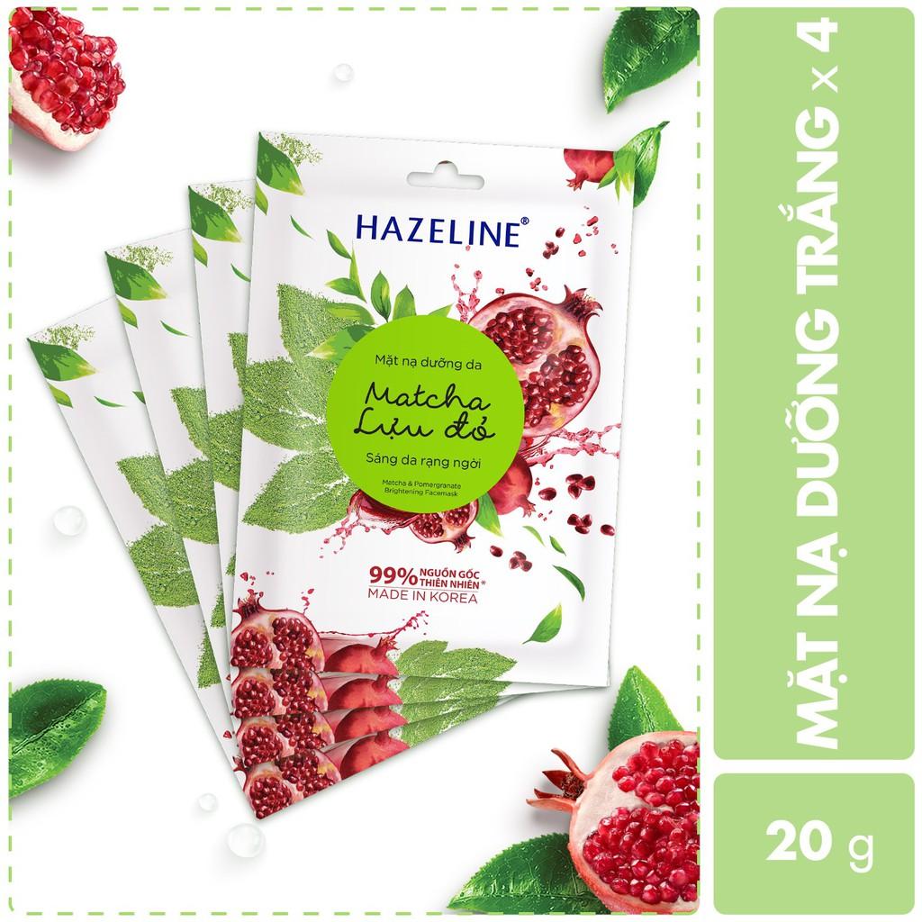 Combo 4 mặt nạ dưỡng trắng Hazeline matcha lựu đỏ 80g