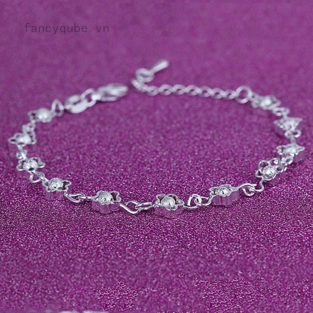 Vòng tay bạc 925 hình hoa thiết kế đơn giản xinh xắn thumbnail