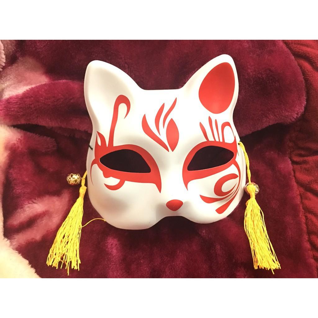 (M466) Mặt Nạ Vẽ Mèo đỏ ( có ảnh thật kèm video )