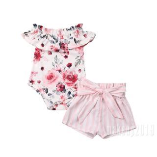 Mu♫-2Pcs Newborn Baby Girls Floral Off-Shoulder Romper Bow Shorts Pants Sunsuit Outfits 0-18M