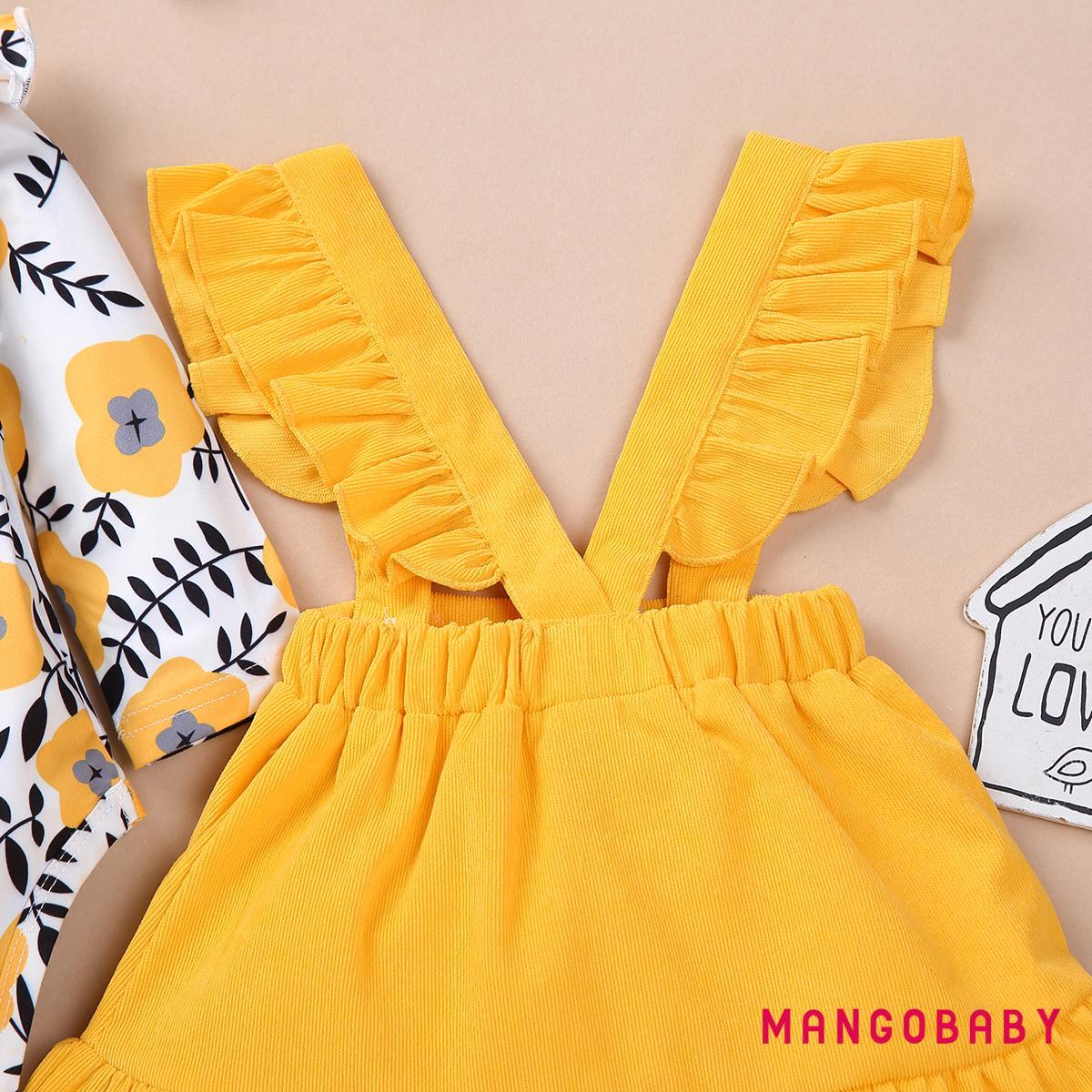 Set Áo Thun Dài Tay Cổ Tròn + Chân Váy Yếm Đáng Yêu Cho Bé Gái