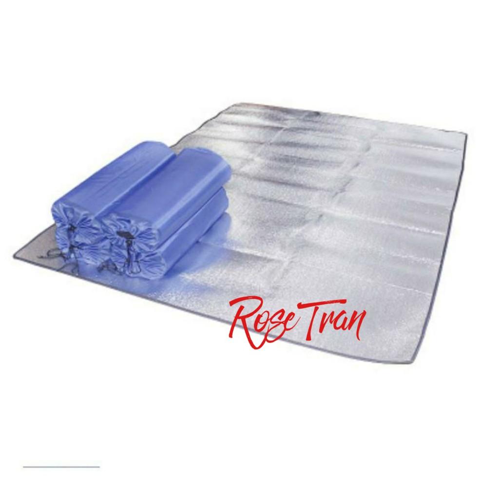 Thảm ngủ trưa văn phòng, dã ngoại tráng bạc 2 mặt 200*100cm-Chống thấm, cách nhiệt– Kèm túi đựng tiện lợi