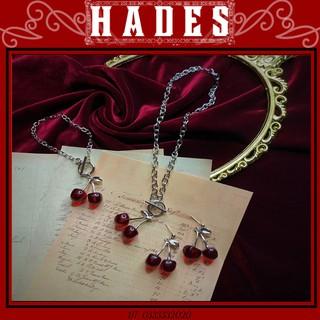Dây chuyền xích mặt quả cherry đỏ Black pink - Vòng cổ khuyên tai vòng tay titan trái cherry hip hop retro - Hades.js thumbnail