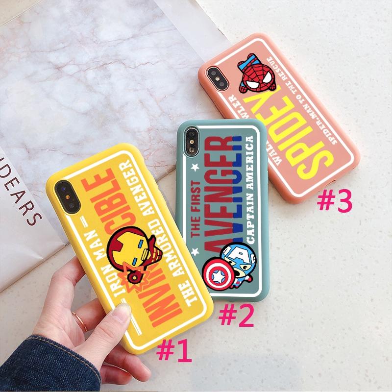 BeeMS กรณี Avengers Case iPhone XS XR XSMAX Spiderman Ironman 6/6s 7/8 6Splus 7plus Captain America 1.5mm Silicone Case