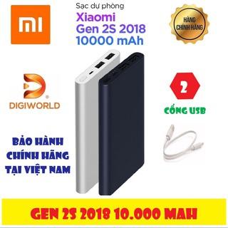 Pin Sạc Dự Phòng Xiaomi Gen 2S 10000mAh 2 Cổng USB (Gen 2 New 2018)   Hàng Chính Hãng DGW – Mới 100%