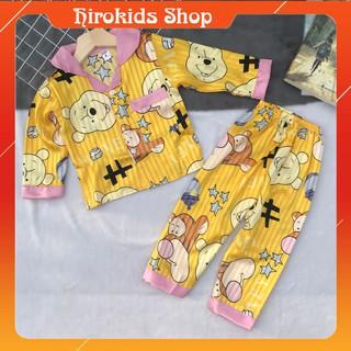 Bộ ngủ pijama lụa gấm tay dài quần dài size nhí cho bé (9-22kg) – Hirokids