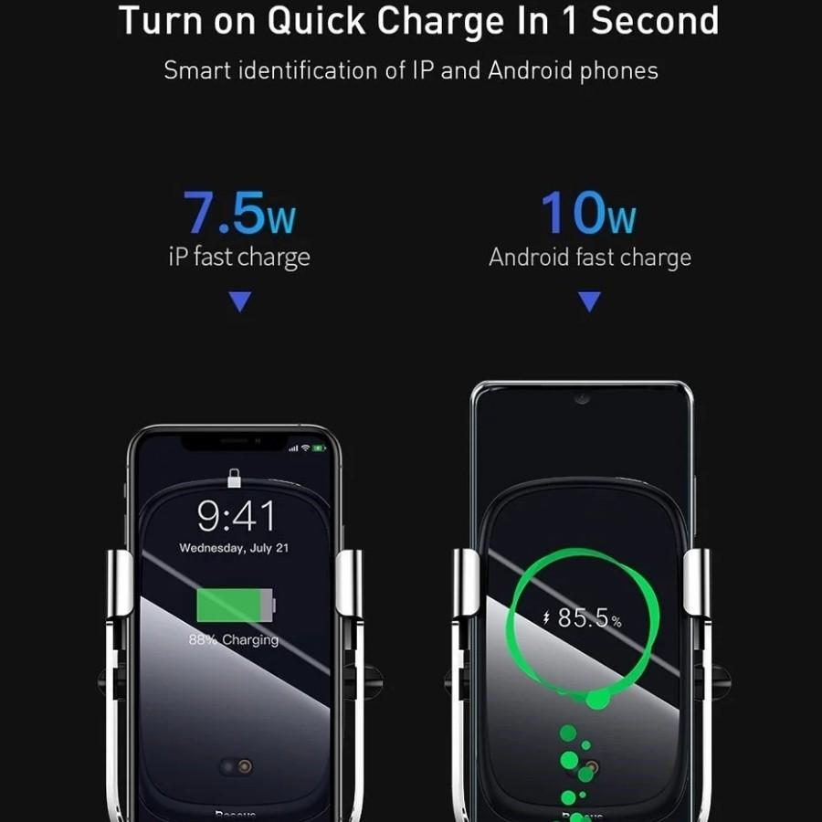 Bộ đế giữ điện thoại tích hợp sạc nhanh không dây Baseus Rock-solid Electric Holder 10W Wireless Charger LV589-AI