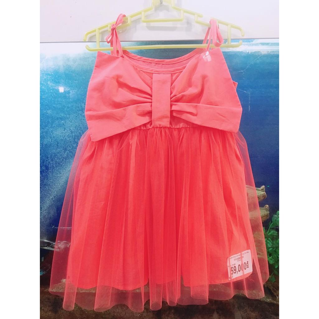 ZVL-59-37- Váy Công Chúa BG, 2 dây, nơ ngực, phối voan xòe, màu hồng & xanh lá, Made in VietNam, size bé 10kg & 18kg