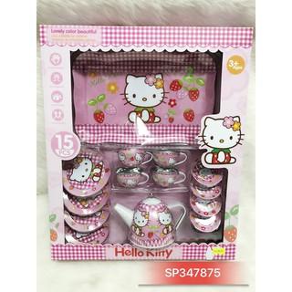 Hộp đồ chơi ấm tách uống trà Hello Kitty inox cực iu