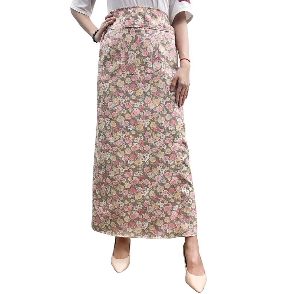 váy chống nắng freeSize kaki xẻ trước VKXT0013
