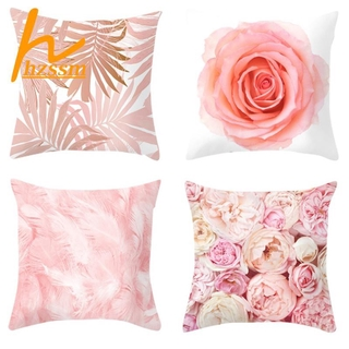 Pink Feathers Geometric Cushion Cover Sofa Seat Pillows Cover