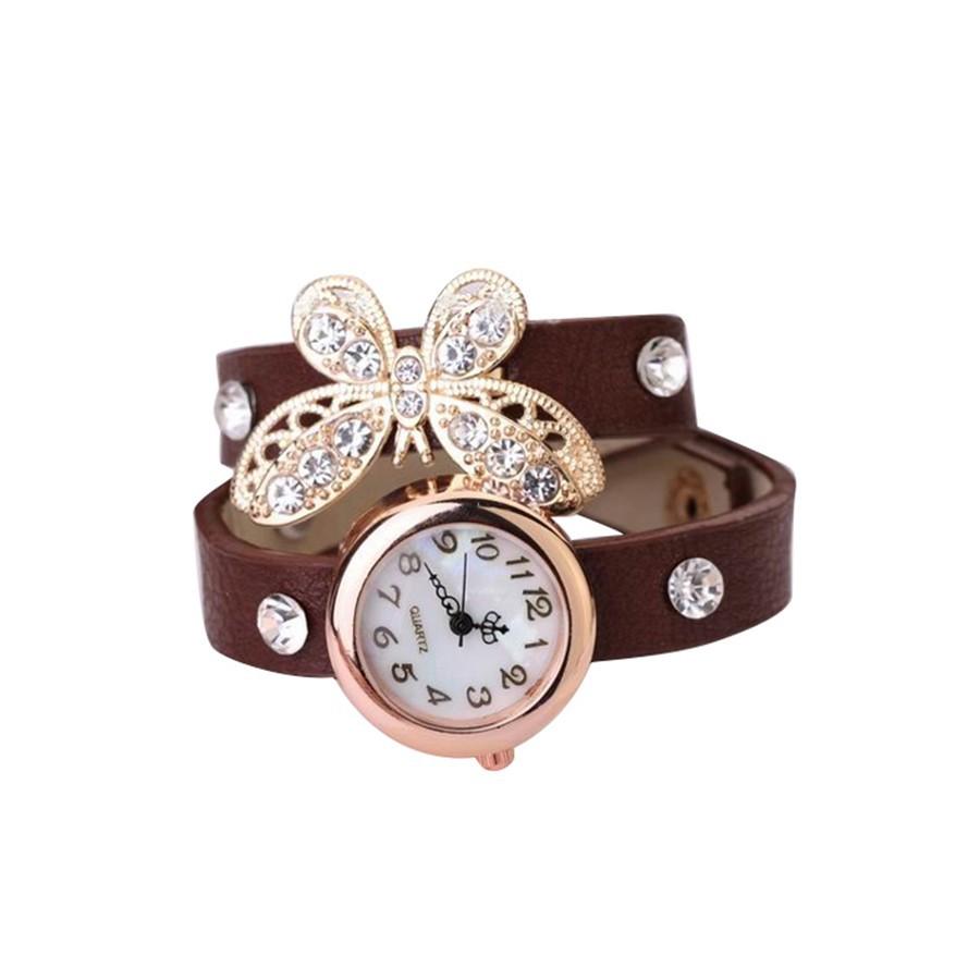 Đồng hồ dây da hình bướm đính đá trang trí cho nữ