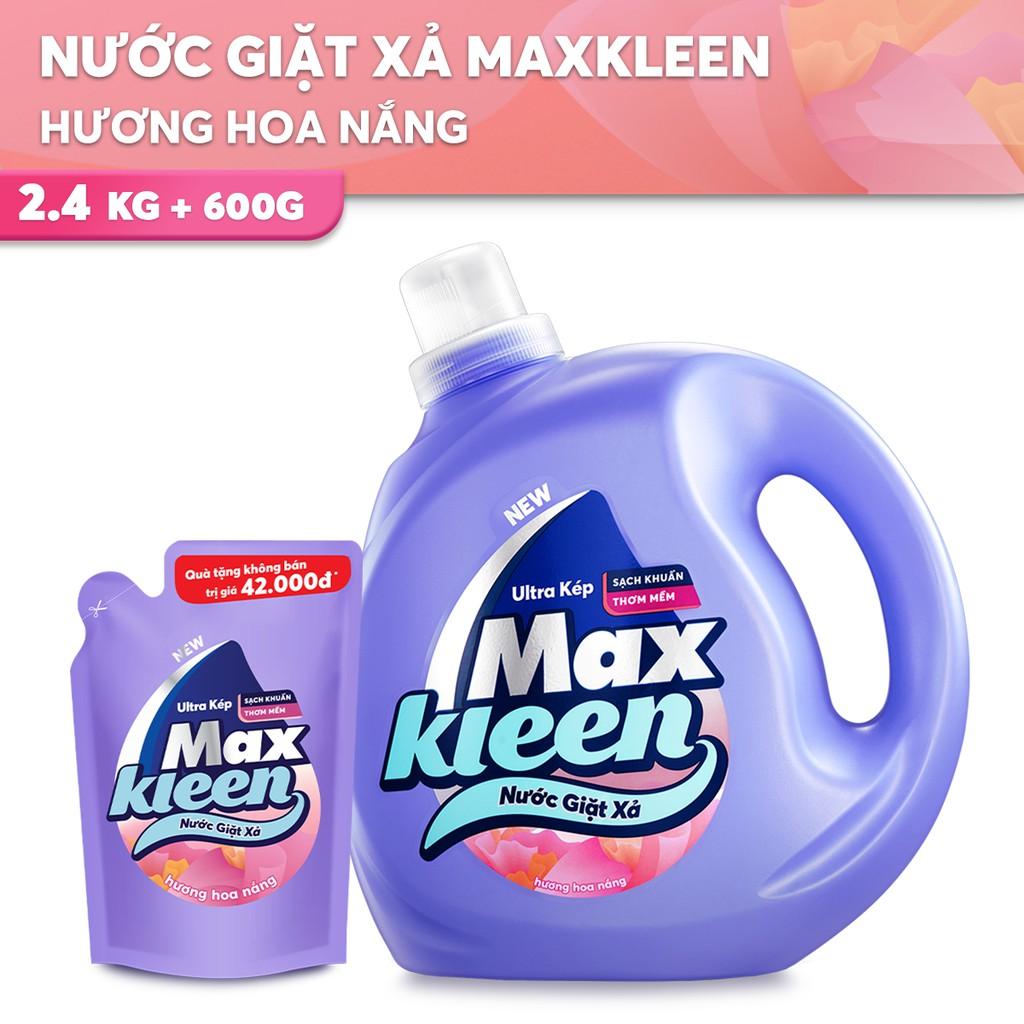 Nước Giặt Xả MaxKleen Hương Hoa Nắng 2,4kg tặng Túi nước giặt xả 600g