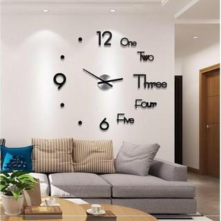 Đồng hồ dán tường thiết kế 3D, đồng hồ treo tường trang trí dùng pin aa