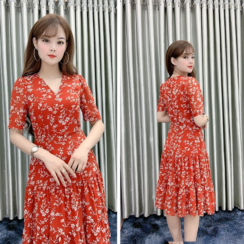 Đầm Nữ Dự Tiệc Hoa Đỏ Nhí, Váy Hoa Nữ Dự Tiệc Cưới Sang Trọng [FREE SHIP] [V09]
