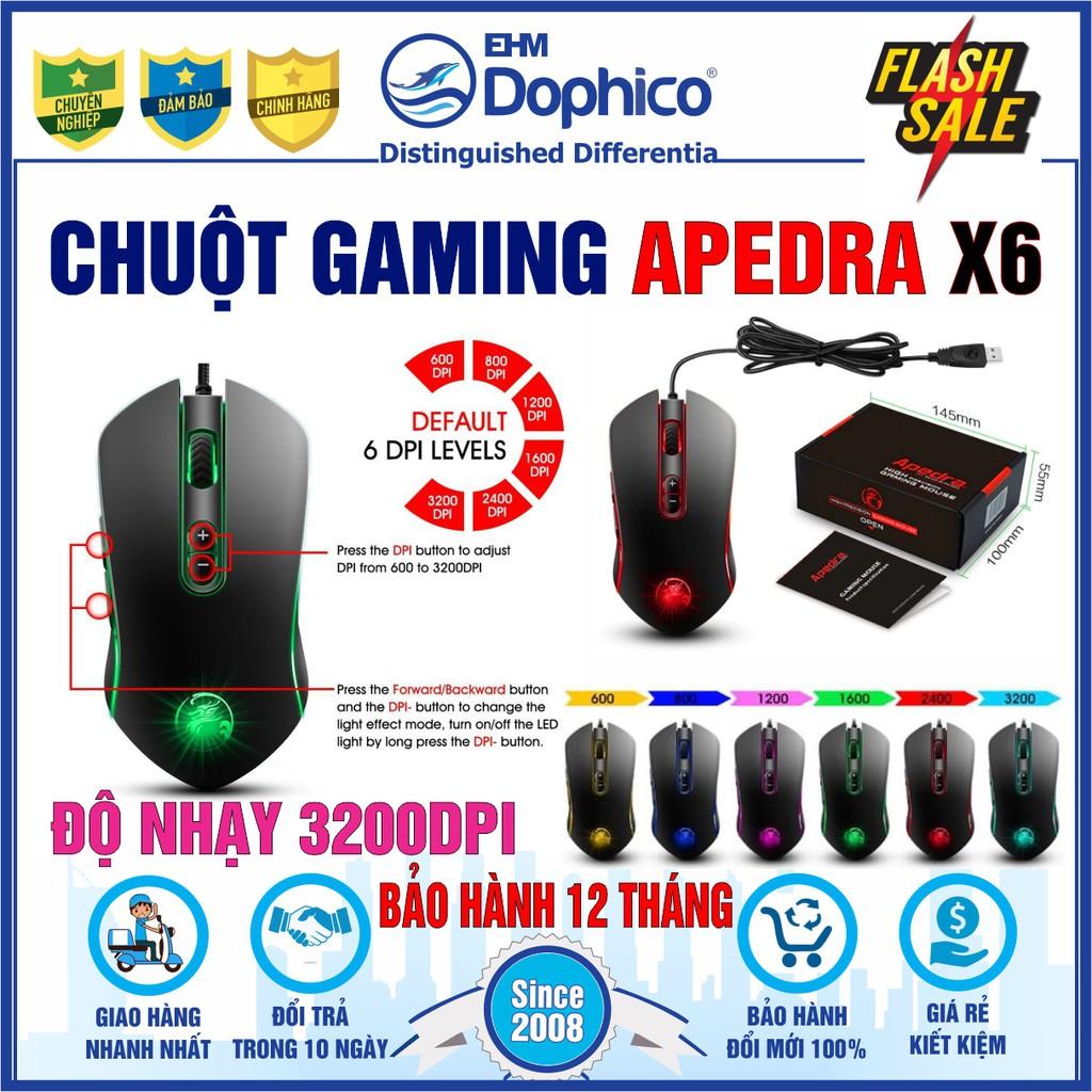 Chuột Gaming Apedra X6 – Chính hãng – Led đổi màu – Độ nhạy 3200 DPI – Bảo hành 12 tháng