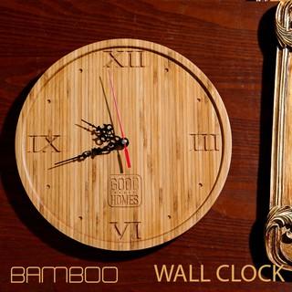 [HOT] Đồng hồ treo tường, để bàn bằng gỗ tre khắc CNC - đồng hồ treo tường hình tròn [ROCHELLIO/Round]