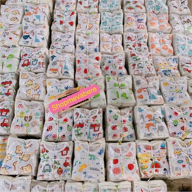 Bộ cotton giấy dài tay cho bé sơ sinh 3-15kg, cúc giữa, hàng loại 1 - BO5