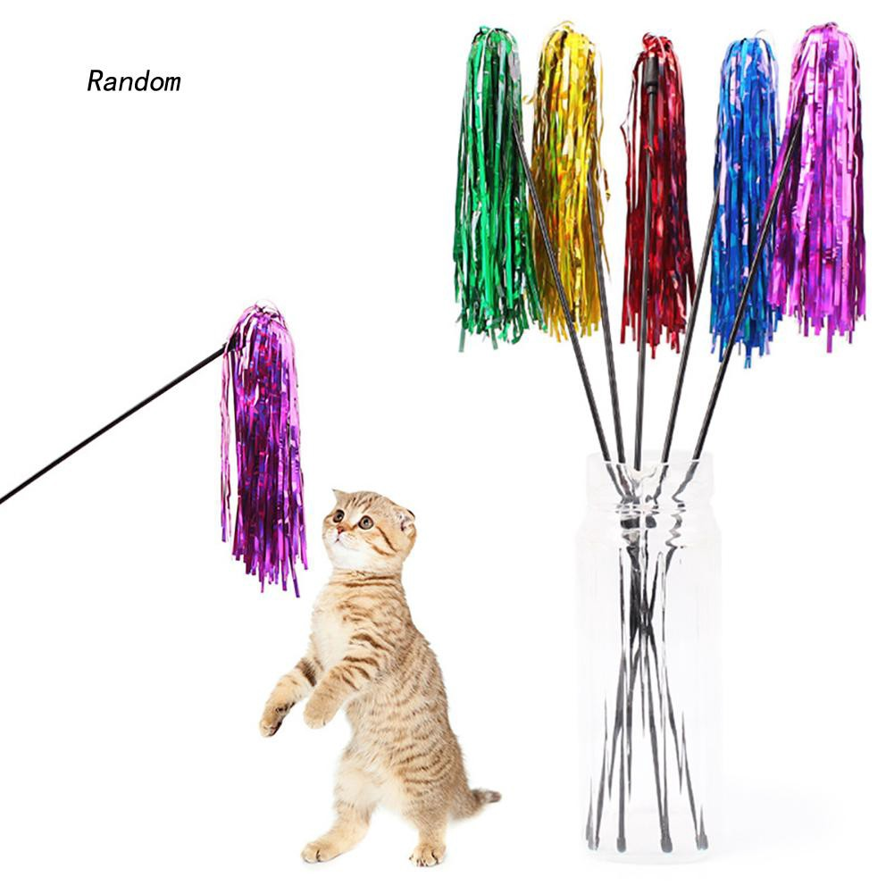 [RA]Funny Bright Color Paper Pet Cat Kitten Tease Rod Wand Play Interactive Toy