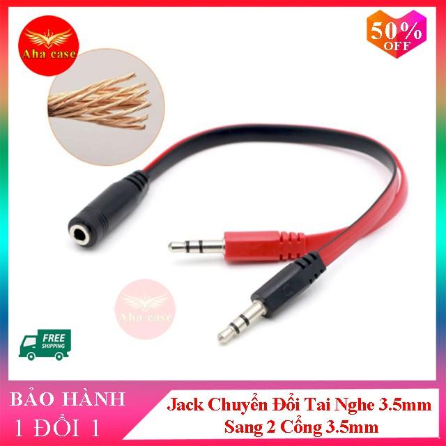 Jack Chuyển Đổi Tai Nghe 3.5mm Sang 2 Cổng 3.5mm cáp chia audio và mic dùng cho laptop và máy tính PC( đen đỏ)