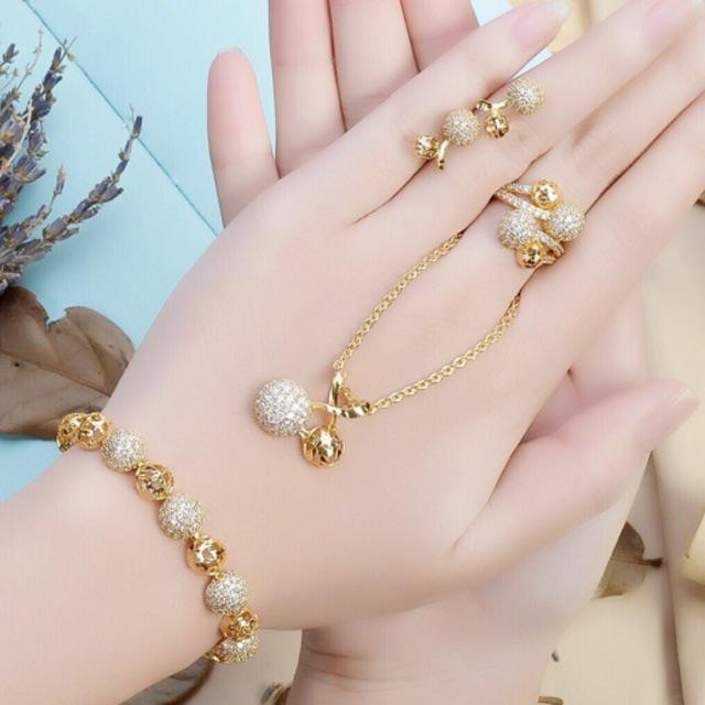 Bộ trang sức nữ hạt châu đồng non dát vàng 18k | Shopee Việt Nam