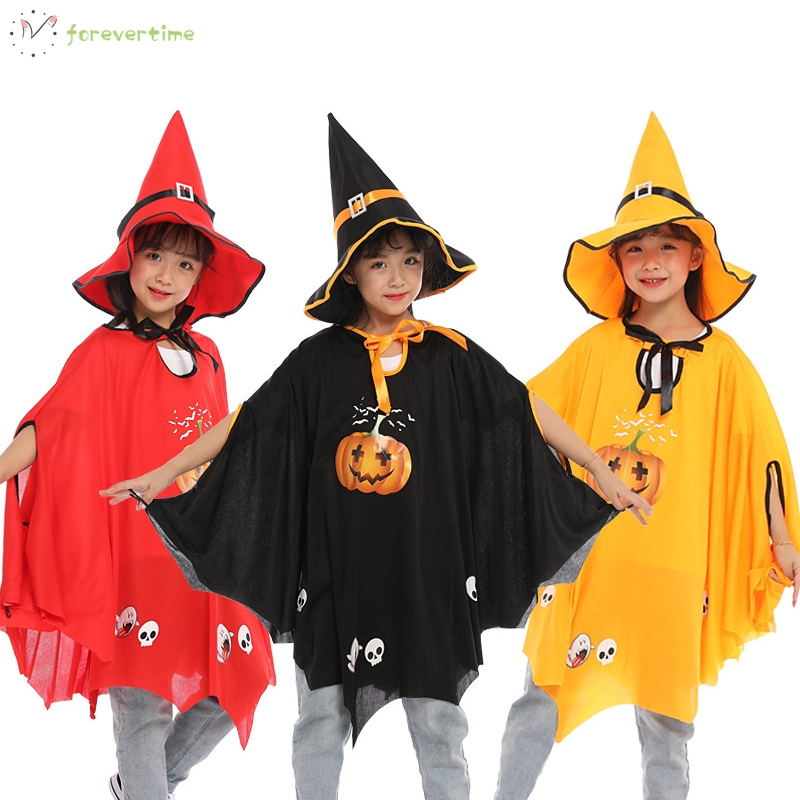 ☞mũ☜ Halloween Pumkin Witch Cloak with Hat Cosplay Costumes Party Clothes for Kids Children Girls