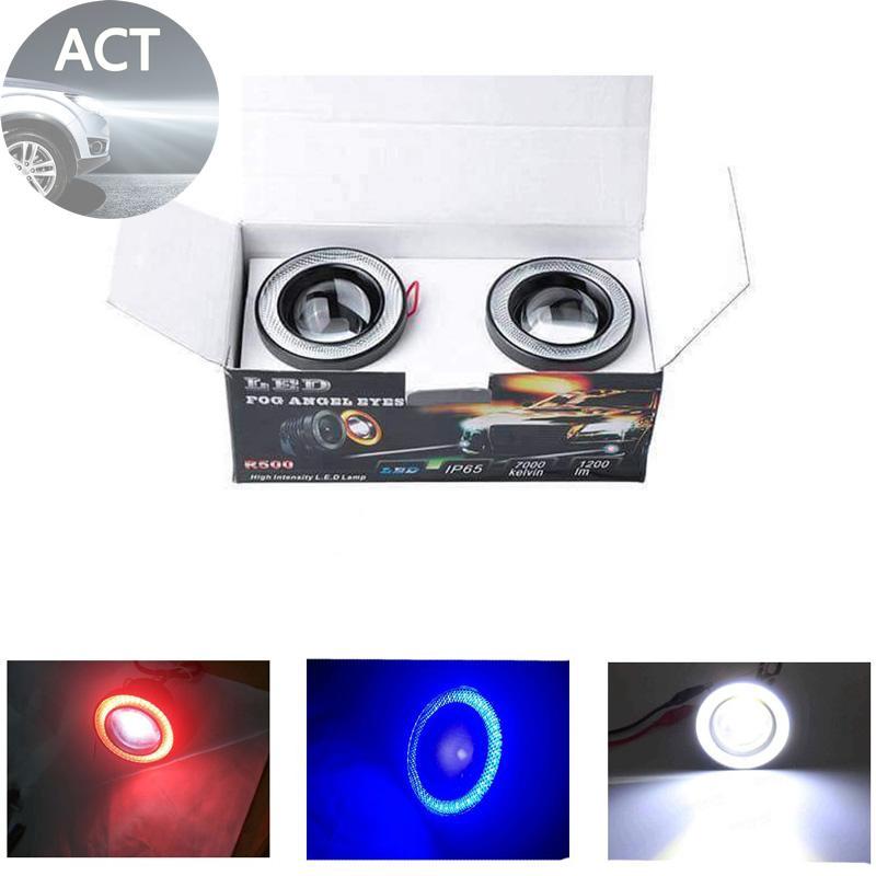 Fog lights Replacement 1200LM Car Auto Angel Eye Aluminum 9V-36V 6500K R500 White/Blue/Red LED Volt Stabilizer