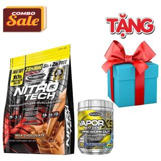COMBO TĂNG CƠ TĂNG SỨC MẠNH Whey Protein Nitro Tech 10lbs + Pre Workout Vapor X5
