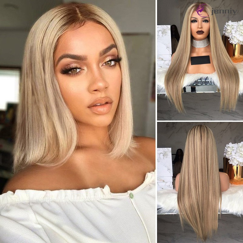 Women Blonde Wig Long Straight Hair Wig Synthetic Hair Heat Resistant Long Wigs