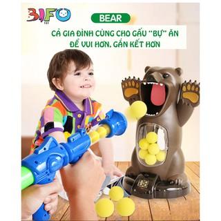 Combo: 1 Gấu tính điểm, 10 bóng bông mềm, 1 đồ chơi bắn bóng