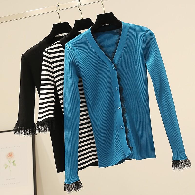 นาวแฟชั่นใหม่เกาหลีลูกไม้เย็บผอมแขนยาวคาร์ดิแกนเสื้อกันหนาวเสื้อกันหนาวหญิง E297