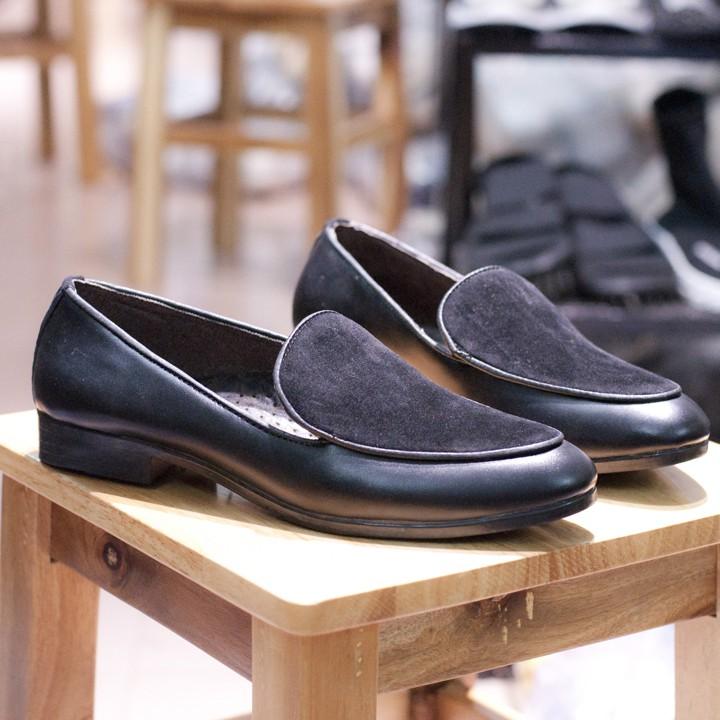 Giày Lười Nam Đẹp Đế Khâu Viền Da Trơn Mặt Giày Da Búc Màu Đen Rất Sang Trọng - M430(TL)-Kèm Thắt Lưng Da Bò Thật