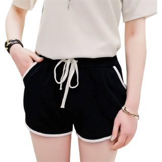 ⚡-YO-Spring Summer Women Casual Shorts Loose High Waist Contrast Color Stitching