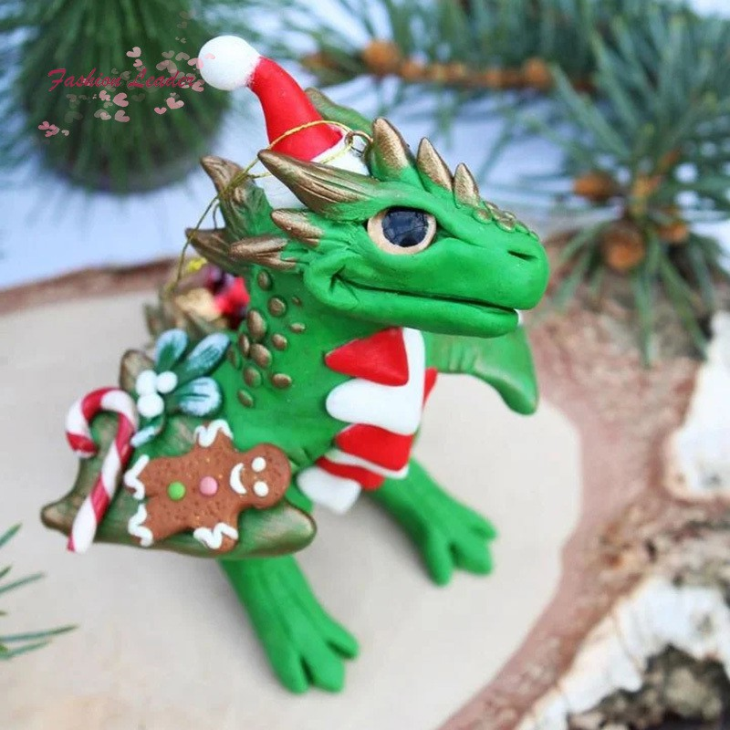 Santa Baby Dragons Christmas Ornament With Lanyard Cute Christmas Dragons Toy For Home Decorative