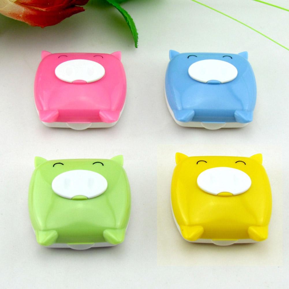 1PCS New cartoon piggy shape Glasses Contact Lenses Box lens Case for Eyes Care Kit Holder Container Gift