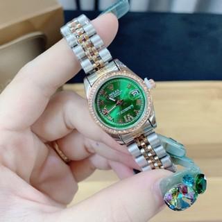 Đồng hồ RO NỮ mặt xanh viền đính đá dây thép không không gỉ thumbnail