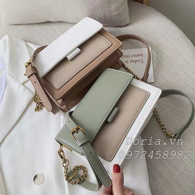 FREESHIP 50K - Túi xách nữ phối màu vintage phong cách Hàn Quốc đeo chéo DR8715