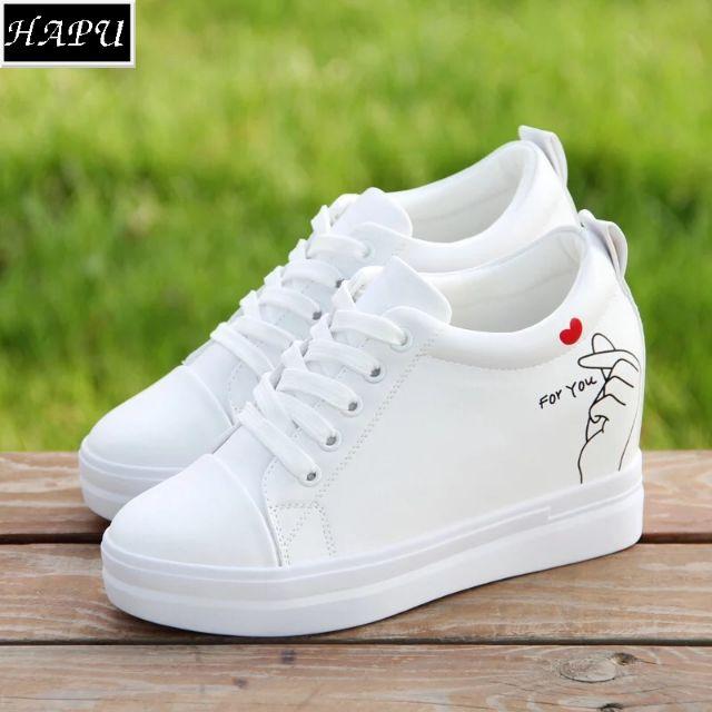 Giày sneaker nữ độn đế búng tim HAPU (trắng, đen) + [FREE SHIP, VIDEO thực tế] - 3505481 , 1033431925 , 322_1033431925 , 300000 , Giay-sneaker-nu-don-de-bung-tim-HAPU-trang-den-FREE-SHIP-VIDEO-thuc-te-322_1033431925 , shopee.vn , Giày sneaker nữ độn đế búng tim HAPU (trắng, đen) + [FREE SHIP, VIDEO thực tế]
