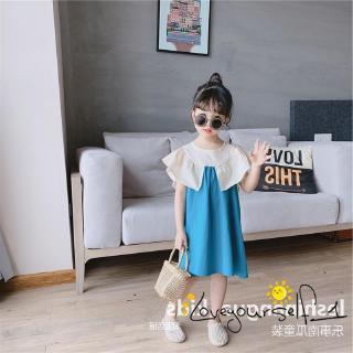 ♛loveyourself1♛-Little Girl Summer Cotton Dress Lotus Leaf Design Loose Patchwork Design Dress