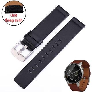 Dây đồng hồ da bò kèm chốt thông minh cho smart watch (size 18mm 20mm 22mm và 24mm) - Mã số D1902