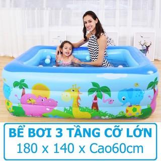 Bể bơi Chữ nhật 3 tầng 180x140xCao60cm 2 đáy chống thủng Hồ bơi Phao bơi Nhà banh Nhà bóng