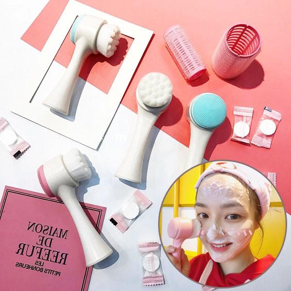 [TRỢ GIÁ] Cây Cọ Rửa Mặt Silicon 2 Đầu Massage Chuyên Dụng Rửa Sạch Sâu Xuất Nhật !