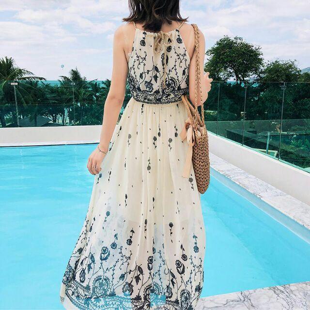 Váy đi biển váy maxi đầm hai dây trễ vai váy bo chun eo