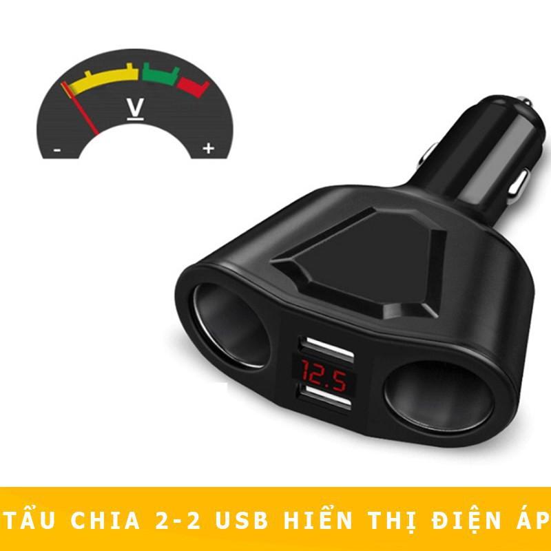 [DỌN KHO] Tẩu Sạc Chia 2 Cổng - 2 USB Có Hiển Thị Điện Áp Cho Xe Hơi , Ô Tô Tẩu Sạc nhanh Ô Tô