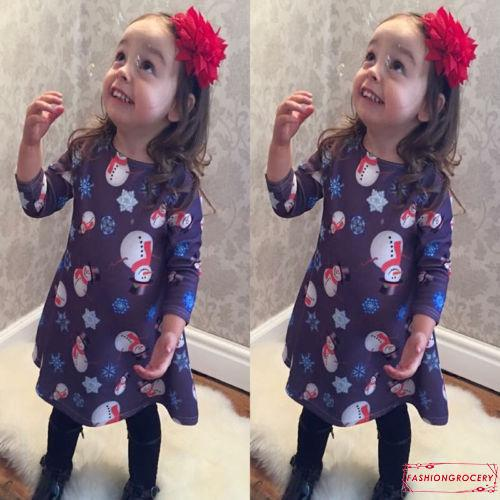 NFO-Cute Kids Baby Girl Christmas Snowman Print Party Long Sleeve Dress