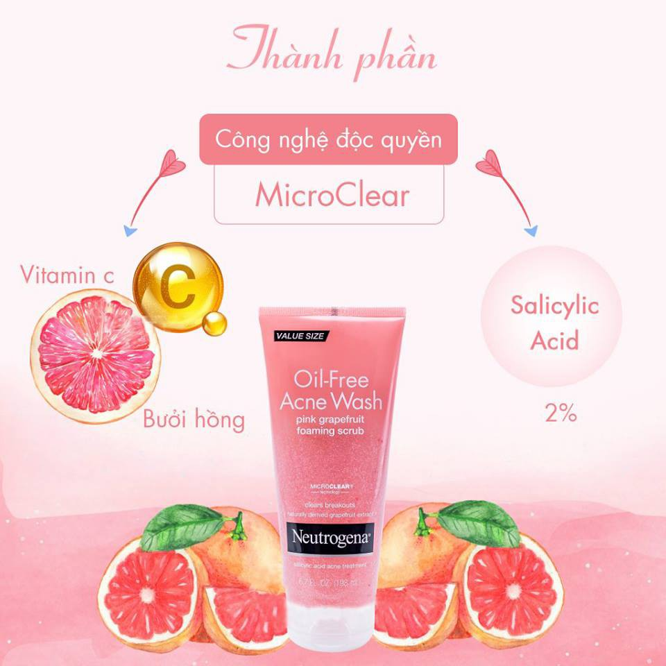 Kết quả hình ảnh cho Sữa rửa mặt Neutrogena Oil Free Acne Wash Pink Grapefruit Foaming Scrub 198ml