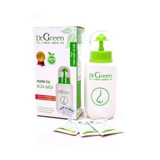 Combo 01 bình rửa + 40 gói muối của thương hiệu Dr.Green (an toàn cho bé, phòng và hỗ trợ điều trị viêm xoang)