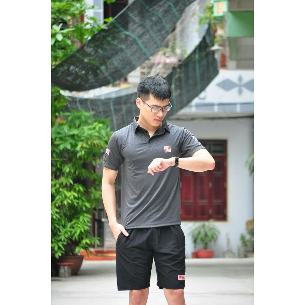 Bộ thể thao nam Uniqlo có cổ vân nổi đẹp, vải đanh, chất mát Bộ thể thao