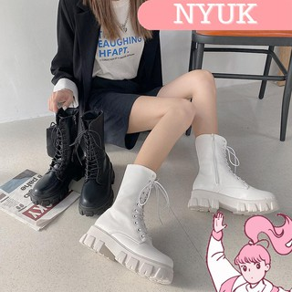 【Giao hàng 24H】 NYUK Martin boots fashion thick-soled British style mid-pipe