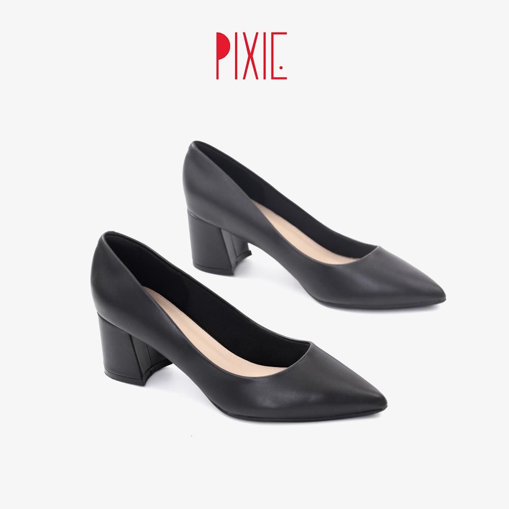 [Mã WABR151 giảm 10% đơn 99000] Giày Cao Gót Đế Vuông 5cm Mũi Nhọn Basic Màu Đen Pixie P055
